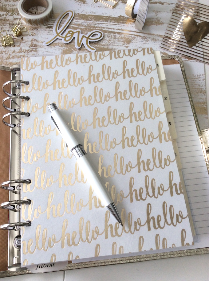 "Filofax ""hello"" A5 dashboard"