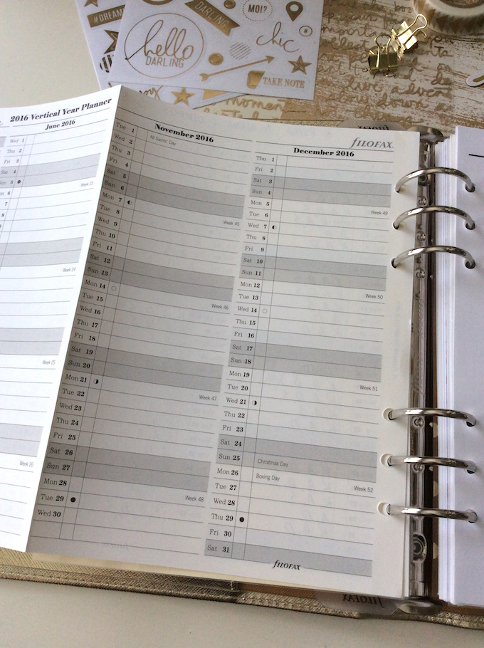 Filofax vertical year planner