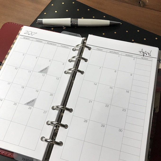 Filofax Personal Monthly
