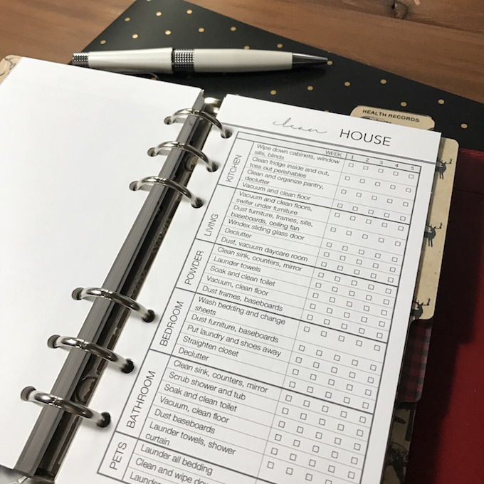 Filofax Personal Clean House Insert